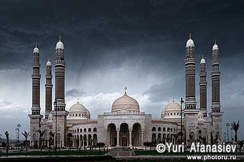 Yemen. Sana'a (Sanaa). Mosque of Al-Saleh (Al-Saleh Mosque). Shooting architecture. 2010 Photographer Yuri Afanasiev