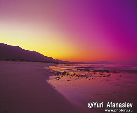 Sultanate of Oman. Purple sunset, beach Idian Ocean.
