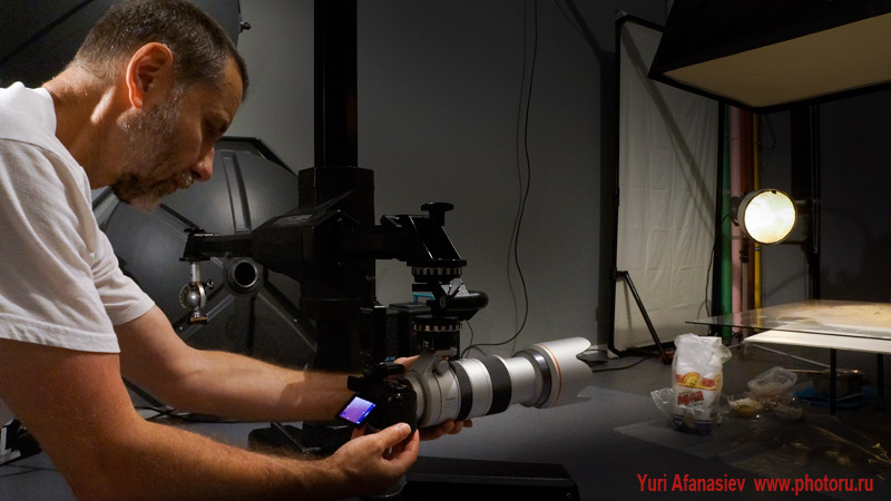 Studio photography. Yuri Afanasiev Photographer with camera SONY Alpha Nex-7